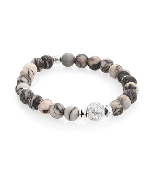 Tateossian - Black Stonehenge Sterling Silver And Semi-precious Stone Beaded Bracelet - Lyst