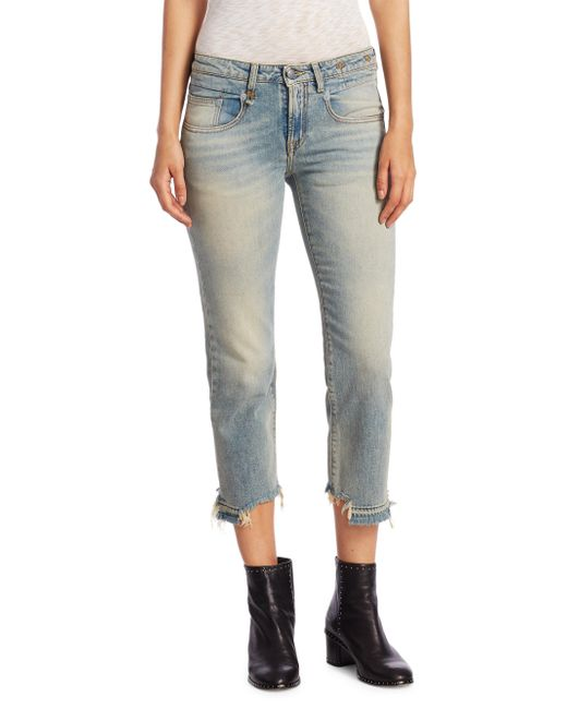 R13 - Blue Washed Straight Jeans - Lyst
