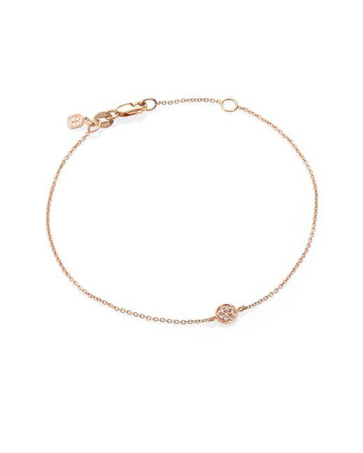 Sydney Evan - Pink Diamond & 14k Rose Gold Tiny Disc Bracelet - Lyst