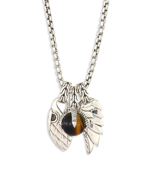 John Hardy - Metallic Classic Chain Tigers Eye & Sterling Silver Pendant Necklace for Men - Lyst