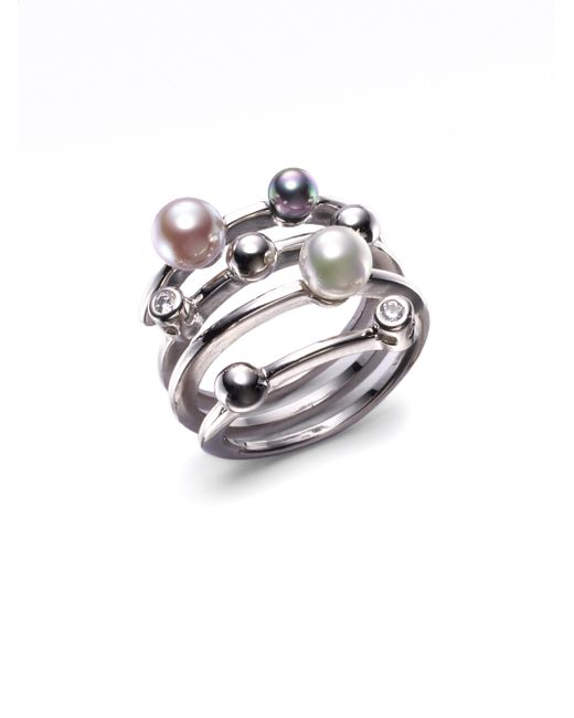 Majorica - 4mm Multicolor Round Pearl & Sterling Silver Endless Wrap Ring - Lyst