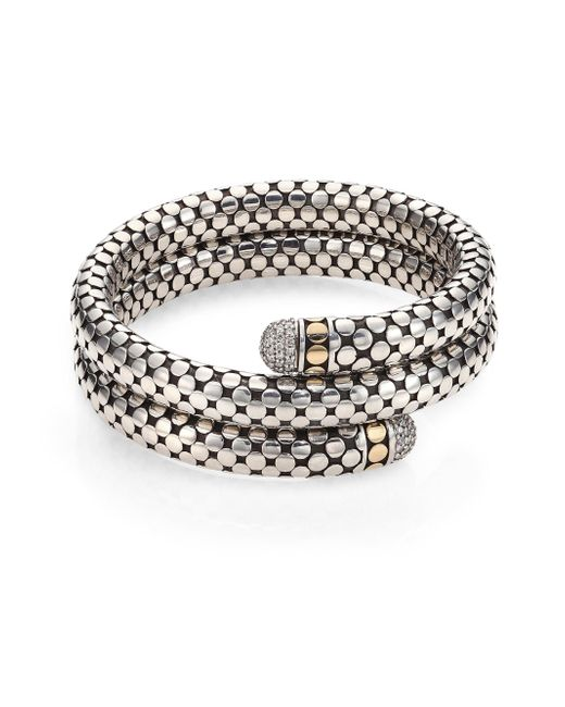 John Hardy | Metallic Dot Diamond, 18k Yellow Gold & Sterling Silver Double Coil Bracelet | Lyst