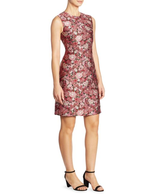 Adam Lippes   Pink Floral Fitted Dress   Lyst