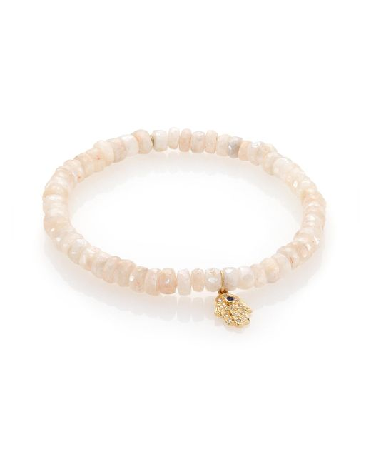 Sydney Evan - Diamond, White Sapphire & 14k Yellow Gold Hamsa Beaded Bracelet - Lyst