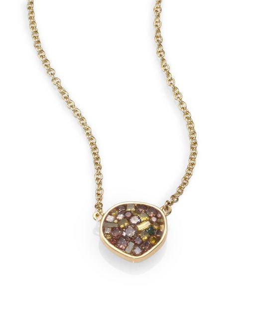 Plevé - Metallic Cinnamon Diamond & 18k Yellow Gold Small Pebble Pendant Necklace - Lyst