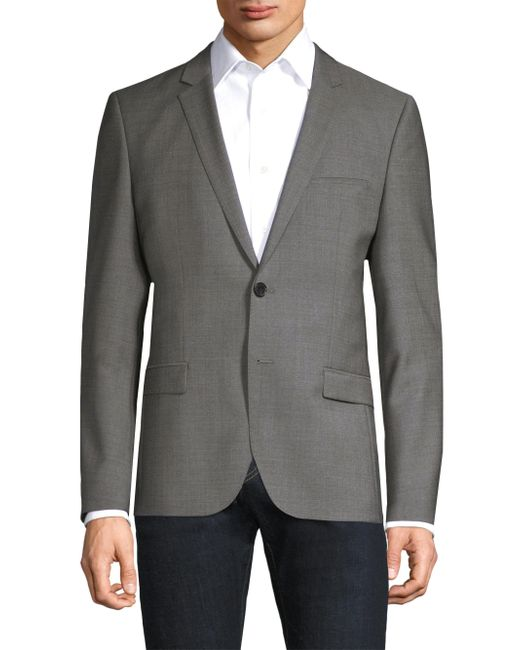 HUGO - Gray Micro Print Wool Blazer for Men - Lyst