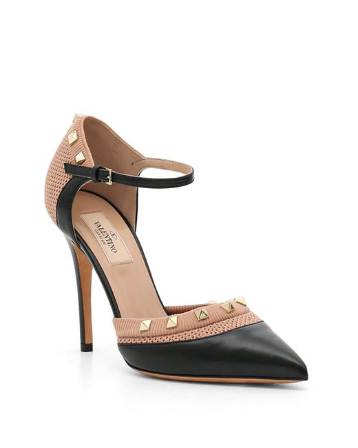 Valentino - Black Knit Rockstud Mary-jane Pumps - Lyst