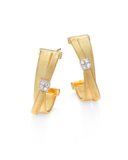 Marco Bicego - Metallic Masai Diamond, 18k Yellow Gold & 18k White Gold Hoop Earrings/0.75 - Lyst
