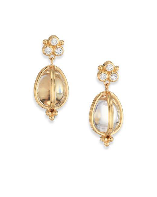 Temple St. Clair - Metallic Classic Rock Crystal, Diamond & 18k Yellow Gold Teardrop Amulet Earrings - Lyst