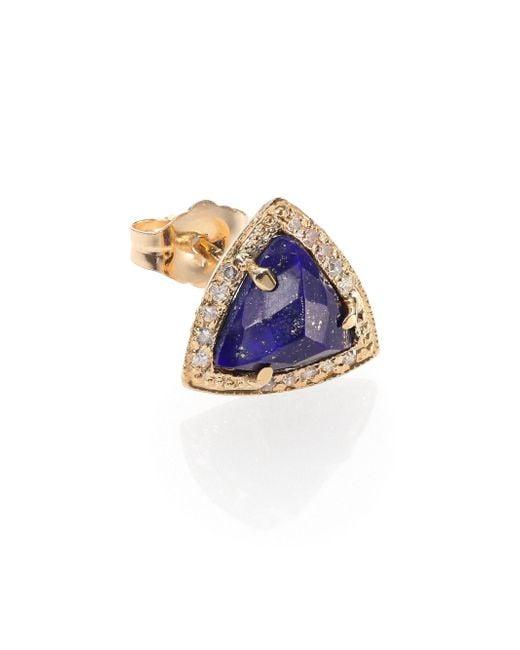 Jacquie Aiche - Metallic Lapis, Diamond & 14k Yellow Gold Triangle Single Stud Earring - Lyst