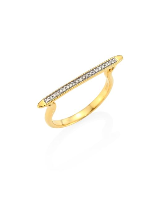 Monica Vinader | Metallic Skinny Diamond Stacking Ring/goldtone | Lyst