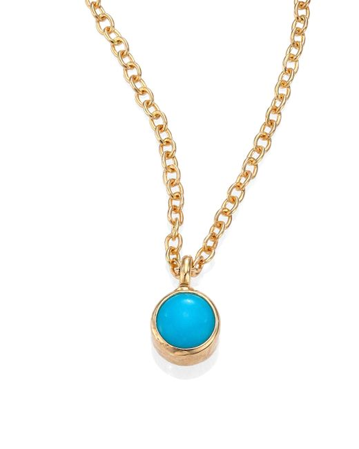 Zoe Chicco - Metallic Turquoise & 14k Yellow Gold Pendant Necklace - Lyst