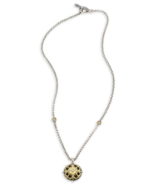 Konstantino - Metallic Gaia Etched Floral Pendant Necklace - Lyst