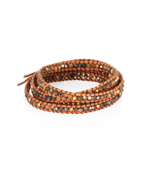 Chan Luu - Metallic Abalone, Crystal & Leather Beaded Wrap Bracelet - Lyst