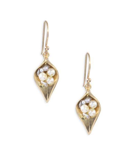 Annette Ferdinandsen - Metallic 1-3mm Pearl & 14k Gold Small Day Flower Earrings - Lyst