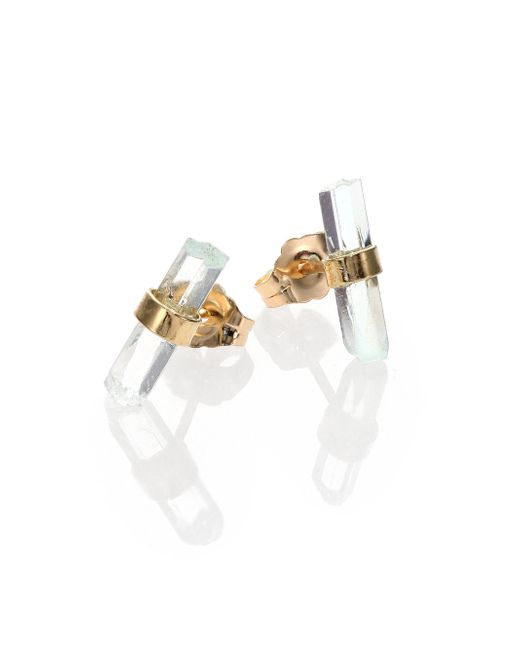 Jacquie Aiche - Metallic Aquamarine & 14k Yellow Gold Small Bar Stud Earrings - Lyst