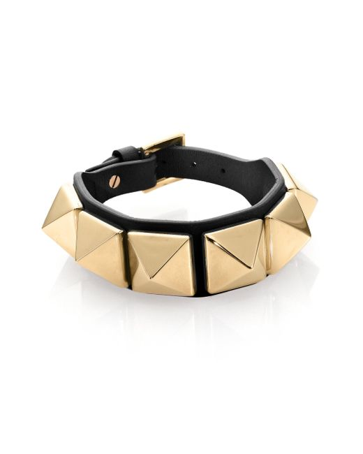 Valentino | Black Rockstud Large Leather Bracelet | Lyst