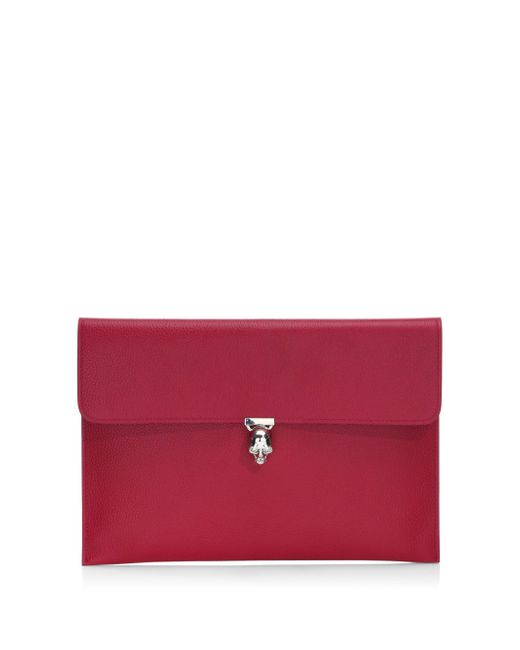 Alexander McQueen | Multicolor Skull Clasp Embossed Leather Envelope Clutch | Lyst