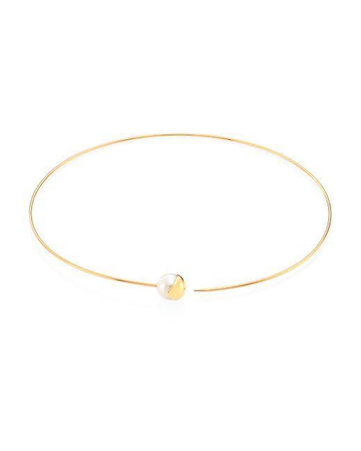 Mizuki   Metallic Fluid 12mm White Baroque Freshwater Pearl & 14k Yellow Gold Collar Necklace   Lyst