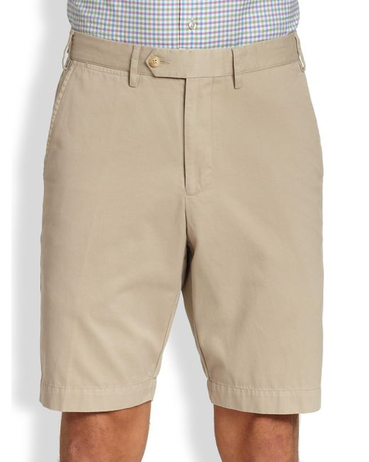 Saks Fifth Avenue   Natural Tailored Pima Cotton Shorts for Men   Lyst