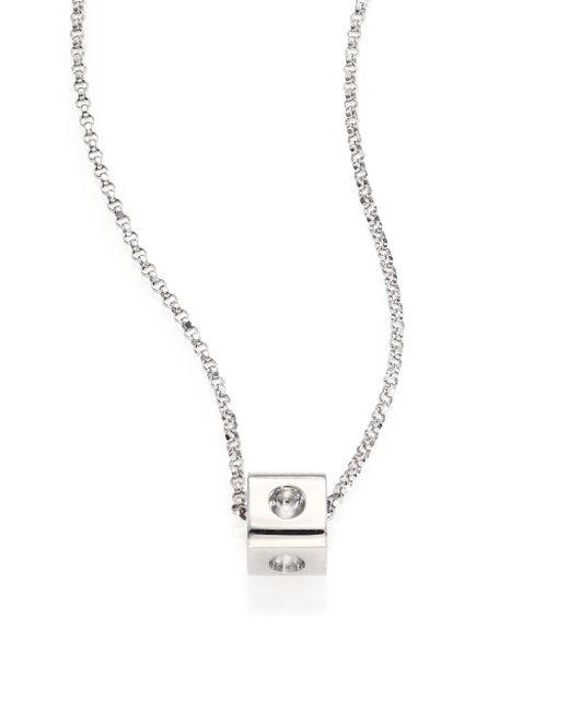 Roberto Coin - Metallic Pois Moi 18k White Gold Mini Cube Pendant Necklace - Lyst
