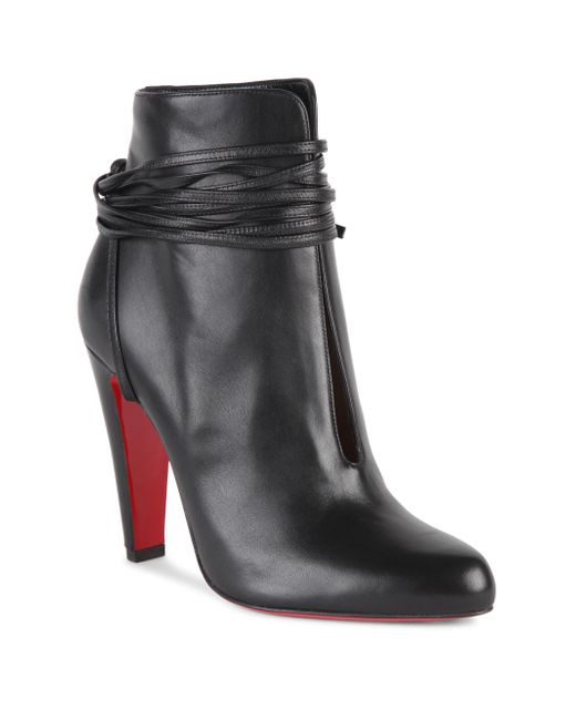 Christian Louboutin | Black S.i.t. Rain 100 Leather Booties | Lyst