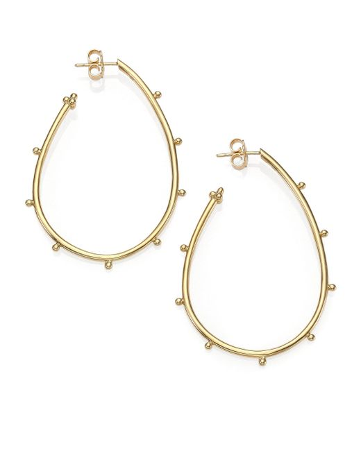 Temple St. Clair - Metallic Classic 18k Yellow Gold Granulated Pear Hoop Earrings - Lyst