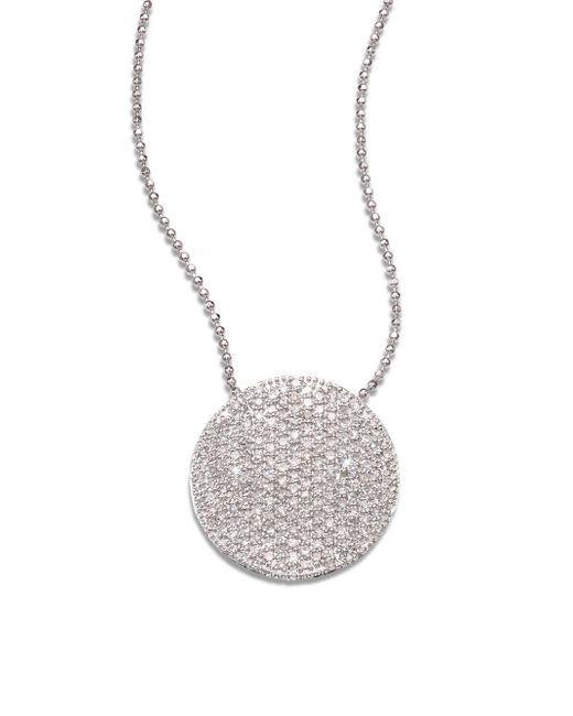 Phillips House | Pavé 14k White Gold & Diamond Large Infinity Disc Necklace | Lyst