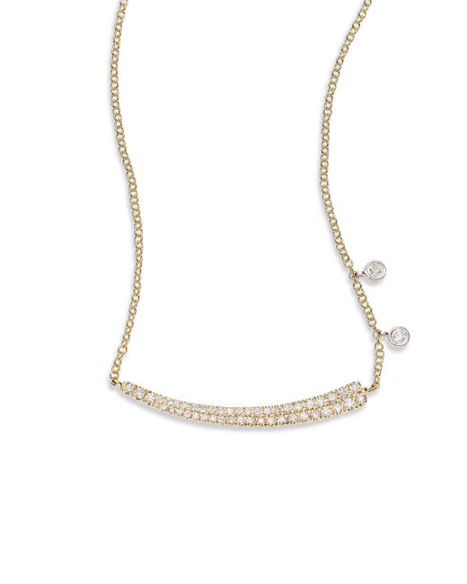 Meira T Metallic Diamond & 14k Yellow Gold Asymmetrical Curved Bar Necklace