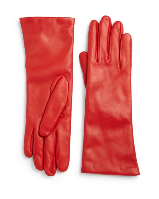 Saks Fifth Avenue | Red Cashmere-lined Leather Gloves | Lyst