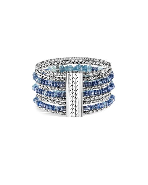 John Hardy - Blue Classic Chain Silver, Aquamarine & Kyanite Multi-row Bracelet - Lyst