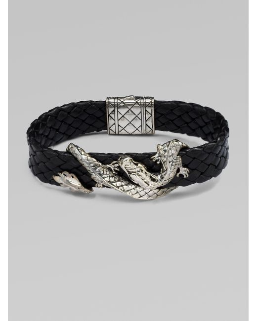John Hardy | Black Silver Dragon & Leather Bracelet/brown | Lyst