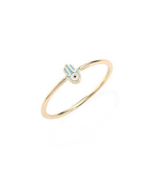 Sydney Evan - Metallic Turquoise Mini Enamel Hamsa Ring - Lyst