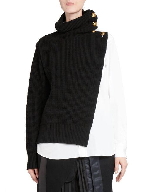 Sacai - Black Wool Shirting Turtleneck Sweater - Lyst