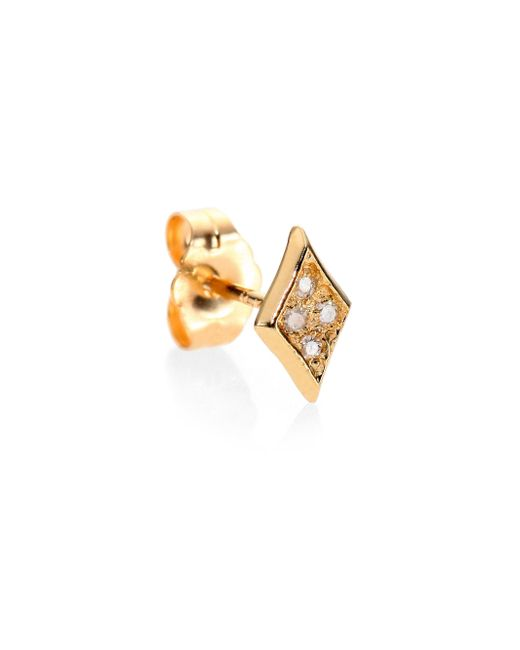 Jacquie Aiche | Metallic Diamond & 14k Yellow Gold Kite Single Stud Earring | Lyst