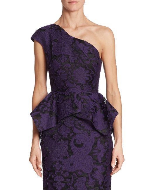 Roland Mouret | Purple Rodmell Fil Coupe Floral Brocade One-shoulder Top | Lyst