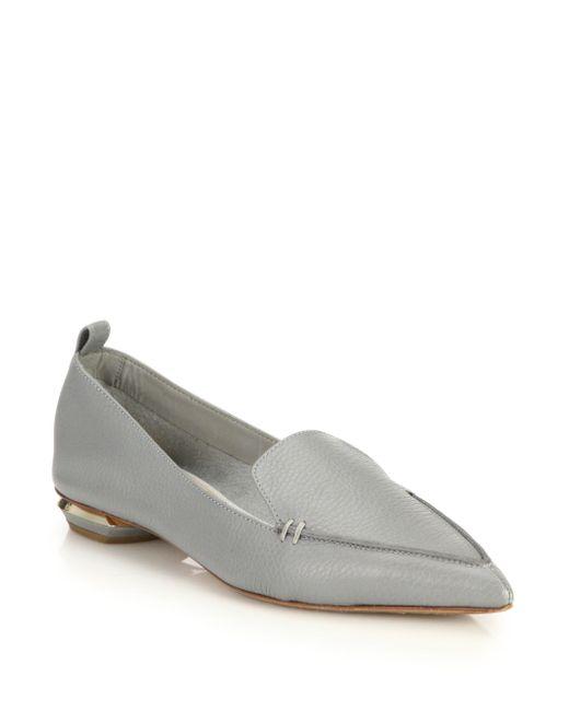Nicholas Kirkwood - Gray Beya Pebbled Leather Point Toe Loafers - Lyst