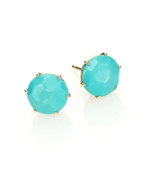 Ippolita - Blue Rock Candy Turquoise & 18k Yellow Gold Stud Earrings - Lyst