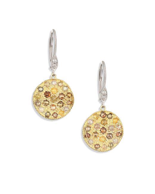 Meira T - Metallic White Diamond, Rough Diamond, 14k Yellow Gold & 14k White Gold Drop Earrings - Lyst