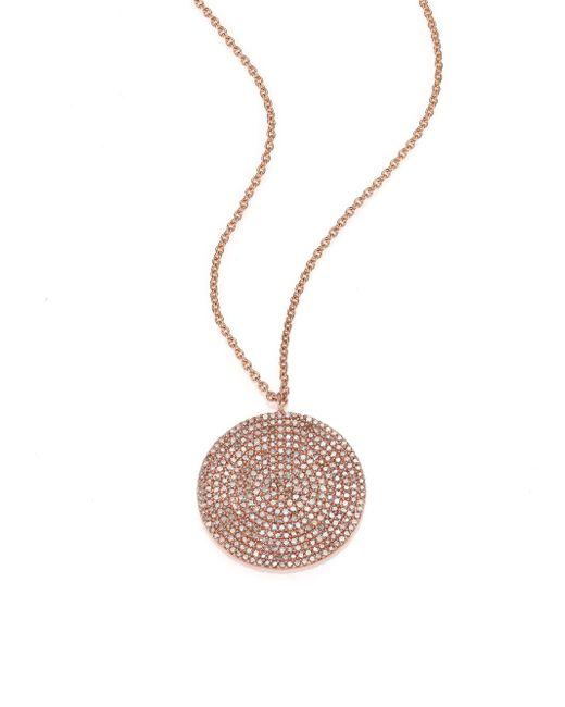 Astley Clarke | Pink Icon Light Grey Diamond & 14k Rose Gold Aura Large Pendant Necklace | Lyst