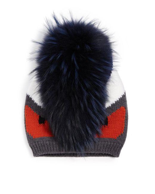 Fendi | Gray Monster Fur-trimmed Wool Hat for Men | Lyst