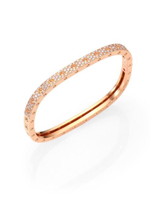 Roberto Coin | Metallic Pois Moi Pavé Diamond & 18k Rose Gold Single-row Bangle Bracelet | Lyst