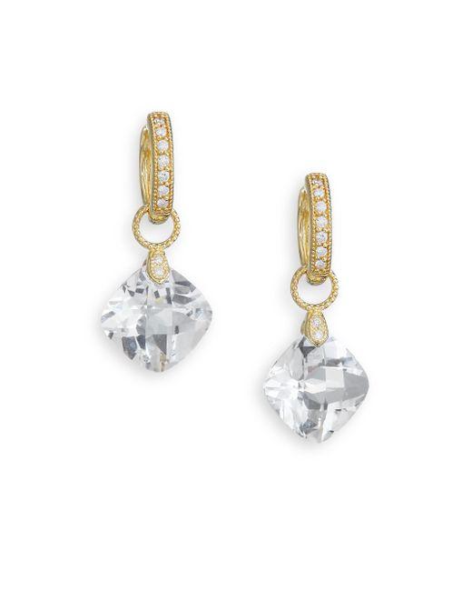Jude Frances - Metallic Classic White Topaz, Diamond & 18k Yellow Gold Cushion Earring Charms - Lyst
