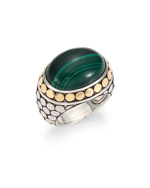 John Hardy - Green Batu Dot Malachite, 18k Yellow Gold & Sterling Silver Dome Ring - Lyst