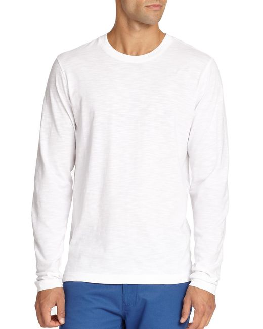 Saks Fifth Avenue | White Long-sleeved Cotton Tee for Men | Lyst
