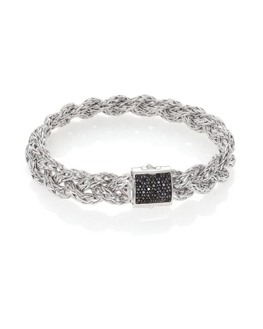 John Hardy - White Classic Chain Black Sapphire & Sterling Silver Large Bracelet - Lyst