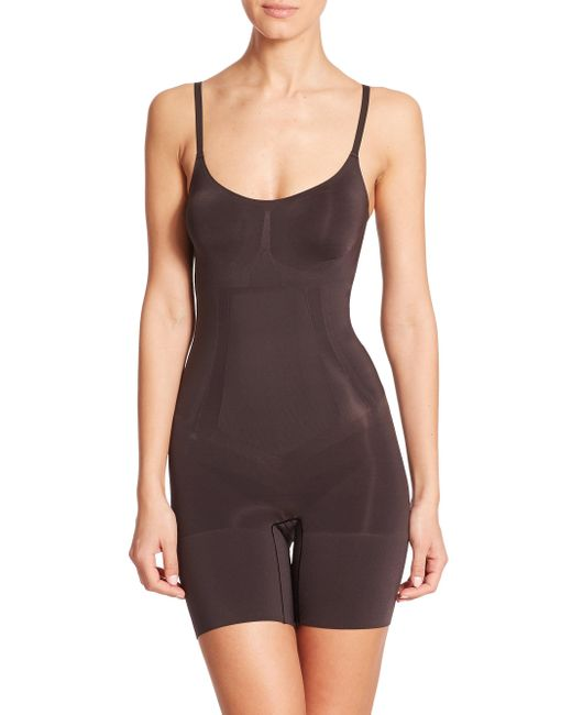 Spanx - Black Oncore Mid-thigh Bodysuit - Lyst