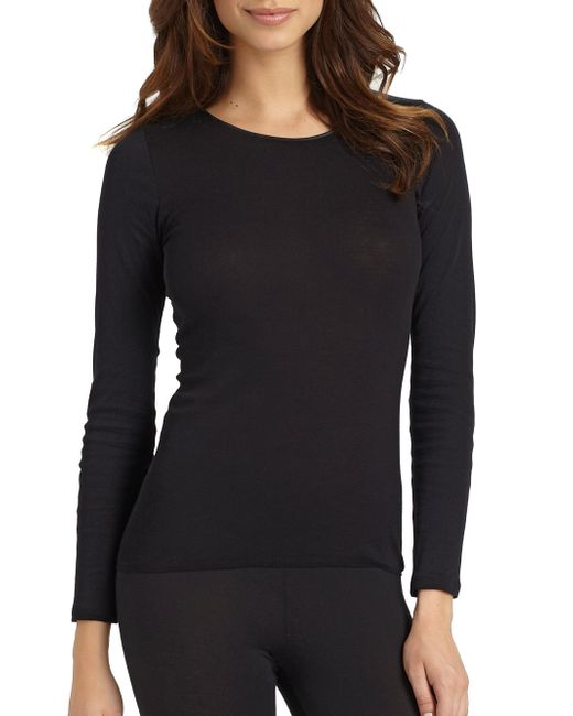 Hanro - Black Cotton Seamless Long-sleeve Top - Lyst