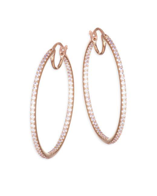 Adriana Orsini - Metallic Pave Crystal Hoop Earrings - Lyst
