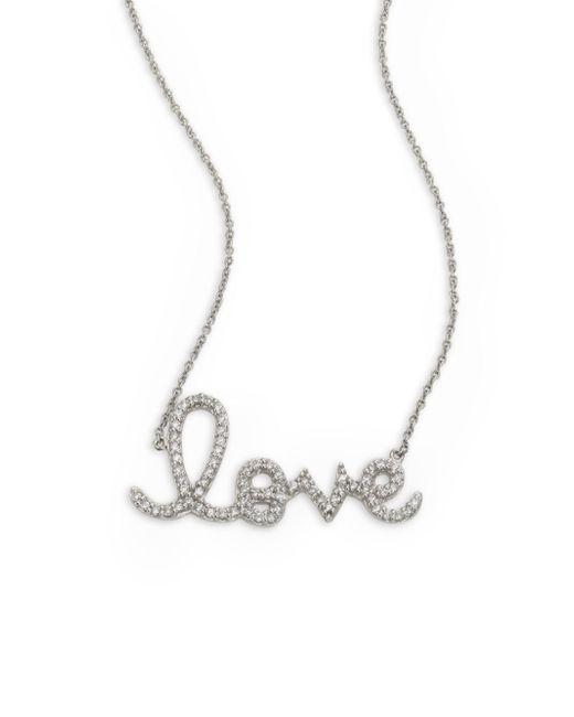 Sydney Evan - Metallic Large Love Diamond & 14k White Gold Necklace - Lyst